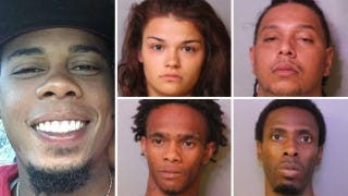 Adam Hilarie (left) and (clockwise from top left) suspects Hailey Bustos, Andre Warner, Joshua Ellington and Gary GrayGoFundMe; Auburndale, Fla., Police Department