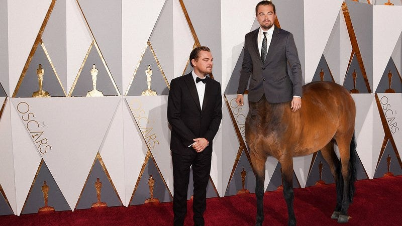 Leonardo DiCaprio and his pet centaur Gumball Sr.