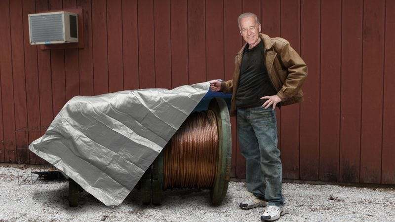 """Vice President Biden says he is hoping to score """"at least two or three grand"""" from the copper wire haul."""