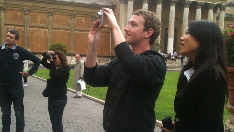 Illustration for article titled Mark Zuckerberg Staring at The Vatican with His Wife