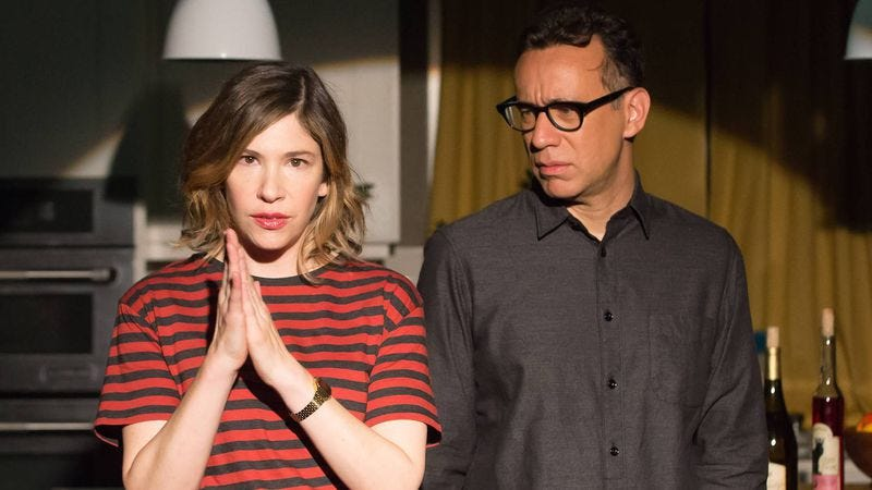 """Screenshot: Carrie Brownstein and Fred Armisen in Portlandia's """"The Storytellers"""""""