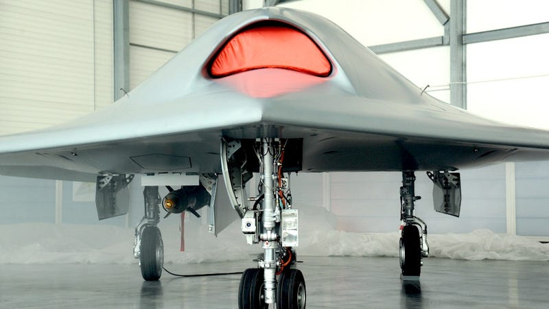 Illustration for article titled Europe's First Stealth Drone Looks like an Angry Cyborg