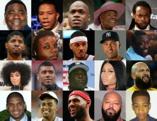 Top row: Tracy Morgan; Ray Rice, Adrian Peterson; Maya Angelou; Richard Sherman. Second row: Paul George, Michael Brown, Carmelo Anothony, Derek Jeter, Eric Garner. Third row: Solange Knowles, Russell Wilson, Tony Gwynn, Nicki Minaj, Tim Howard. Bottom row: Michael Sam, DeSean Jackson, LeBron James, Suge Knight; Avonte Oquendo.Getty Images; Eric Garner: Facebook; Avonte Oquendo: Autism Wonderland