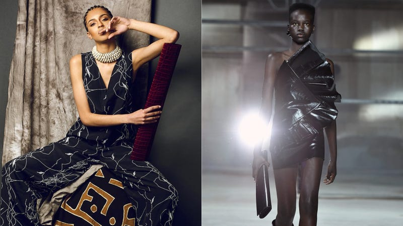 (Left) Image of Tongoro bag via Tongoro; (Right) YSL fall/winter runway show at Paris Fashion Week via Getty
