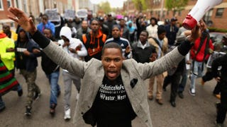 Hundreds of demonstrators march toward the Baltimore Police Western District station during a protest against police brutality and the death of Freddie Gray in Baltimore's Sandtown neighborhood April 22, 2015.Chip Somodevilla/Getty Images