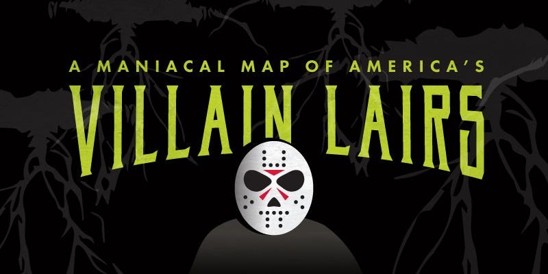 Illustration for article titled Come to the dark side with this US map of infamous Villain Lairs