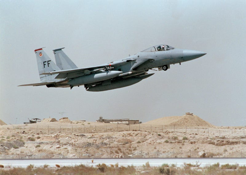 U.S. F-15 Jet Fighter takes off in Saudi Arabia during Operation Desert Shield in an undated