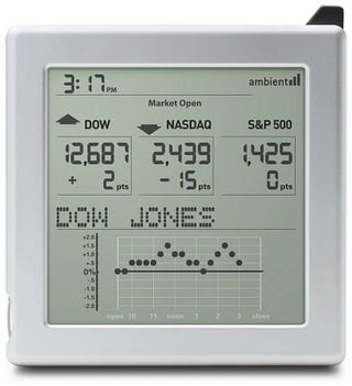 Illustration for article titled Ambient Devices Market Maven Stock Checking Clock