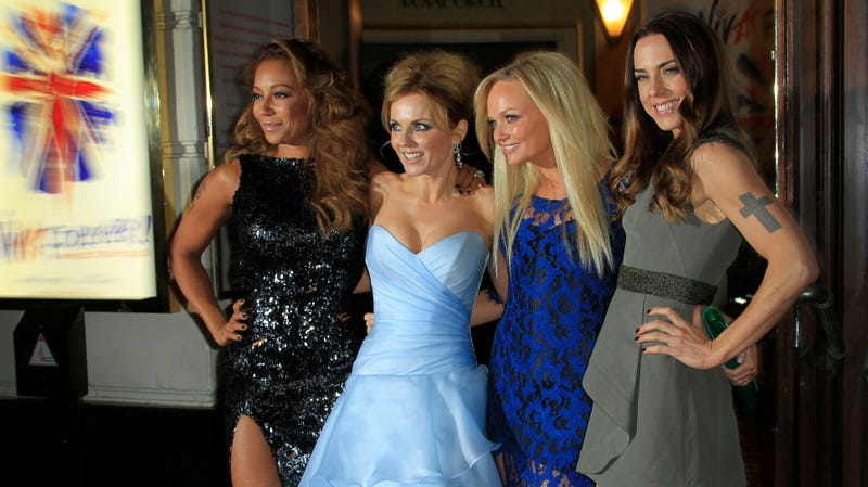 Mel B, Geri Halliwell, Emma Bunton and Mel C arrive for the press showing of Viva Forever!, a musical based on the songs of the Spice Girls, at a theater in central London, Tuesday, Dec. 11, 2012.