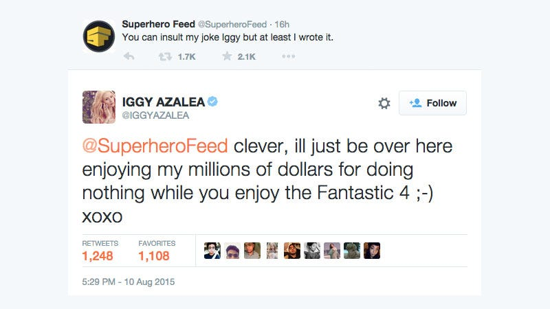 Illustration for article titled Iggy Azalea Spent Last Night Fighting With a Superhero Fan Site on Twitter
