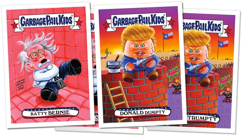 Illustration for article titled You've Only Got 24 Hours to Buy These Donald Dumpty and Batty Bernie Garbage Pail Kids Cards