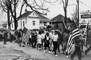 Participants marching in the civil rights march from Selma to Montgomery, Ala., in 1965Library of Congress