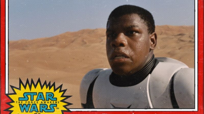 """Illustration for article titled The Force Awakens reveals character names on '70s-style """"trading cards"""""""