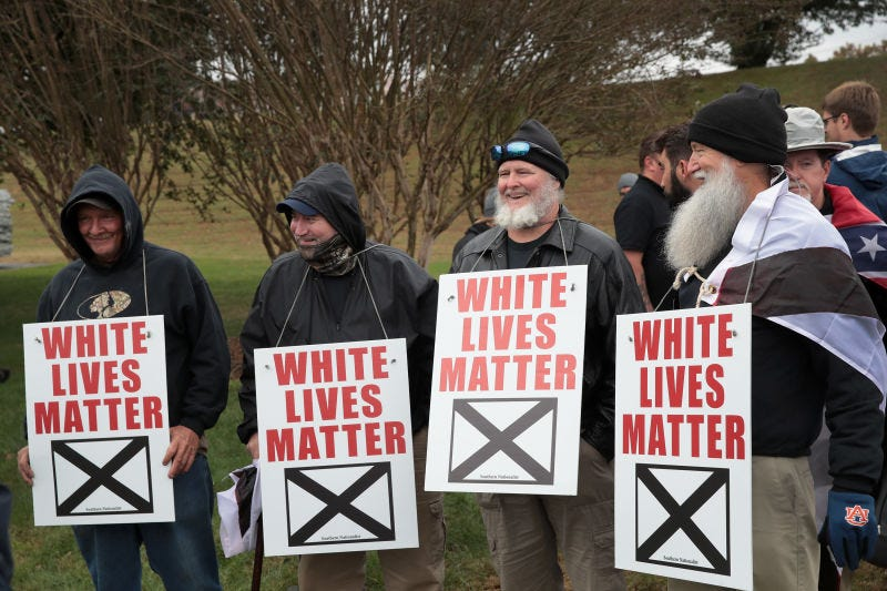 "White nationalists attend the Traditionalist Worker Party's ""White Lives Matter"" rally on Oct. 28, 2017, in Shelbyville, Tenn."