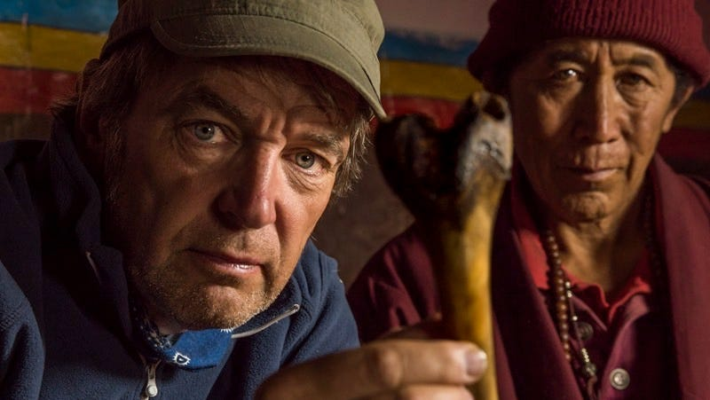 Dr. Mark Evans examines a rather curious bone in the Himalayas. (All images: Animal Planet)