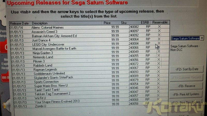 Illustration for article titled Here's GameStop's New Sega Saturn (Well, Wii U) Games List