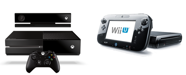 Left: an Xbox One with Kinect and controller; right: a Wii U and GamePad