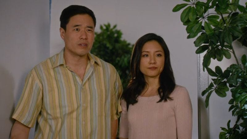 Randall Park and Constance Wu (Not Pictured: Shaquille O'Neal)