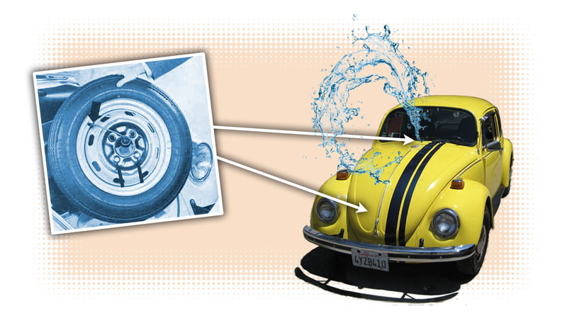 Illustration for article titled The Spare Tire Windshield Washer System in Old Volkswagens Is Both Ridiculous and Clever