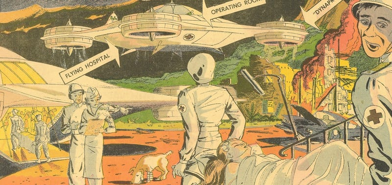 Illustration for article titled These Were the Flying Hospitals of the Future in 1960