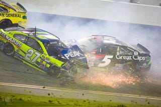 Illustration for article titled That Big NASCAR Sprint Unlimited Pile-Up, In Pictures