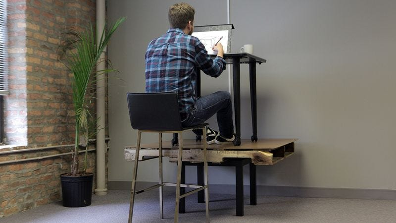 Illustration for article titled Humans Were Not Made To Sit For 8 Hours At A Desk Balanced On Top Of A Smaller Desk, Drawing Pictures Of Other Desks