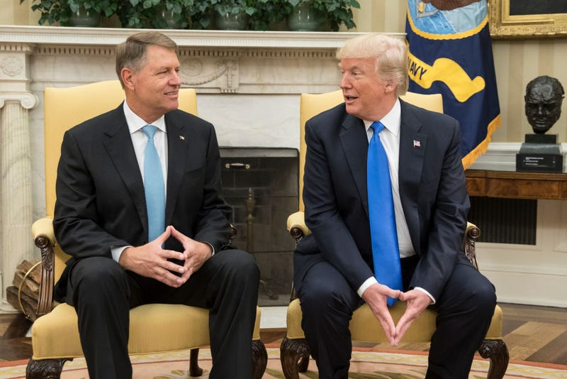 President of Romania Klaus Iohannis And President Donald Trump meet in the Oval Office of the White House on June 9, 2017, in Washington, D.C. (Michael Reynolds-Pool/Getty Images)