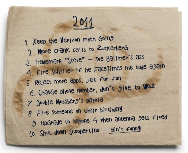 Illustration for article titled Oh Look, It's Steve Jobs' New Years Resolutions on a Napkin