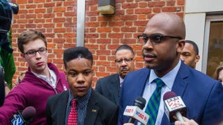 University of Virginia student Martese Johnson (center) and his lawyer, Daniel Watkins (right), speak to the media March 26, 2015, after Johnson's hearing at the Charlottesville District Court in Virginia. Johnson was arrested by Virginia's Alcoholic Beverage Control agents on March 18. Video in which Johnson appears bloodied went viral after his arrest. His case was continued until May 28, 2015.Zach Gibson/Getty Images