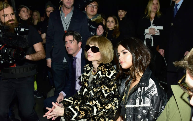 Selena Gomez and Anna Wintour at the Coach Fall 2017 show this week. Image via Getty.