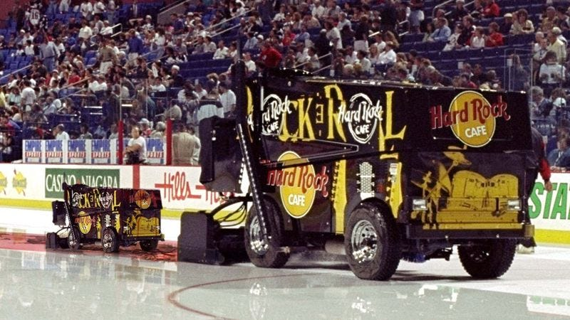 Illustration for article titled Hockey Fans Treated To Rare Sighting Of Zamboni Giving Birth