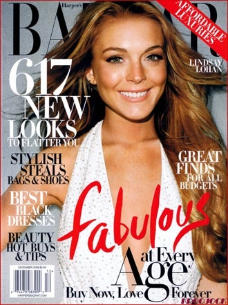 Illustration for article titled Lindsay Strikes A Smiley Pose For Harper's Bazaar