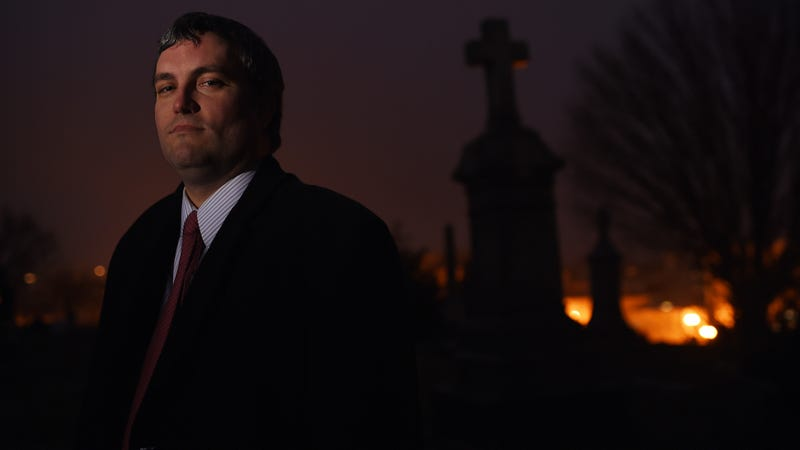 Brett Talley poses for a portrait at Holy Rood Cemetery in Washington, D.C. (Matt McClain/Getty Images)