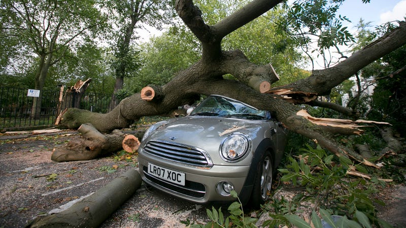 A storm takes out a Mini. Photo Credit: Getty Images