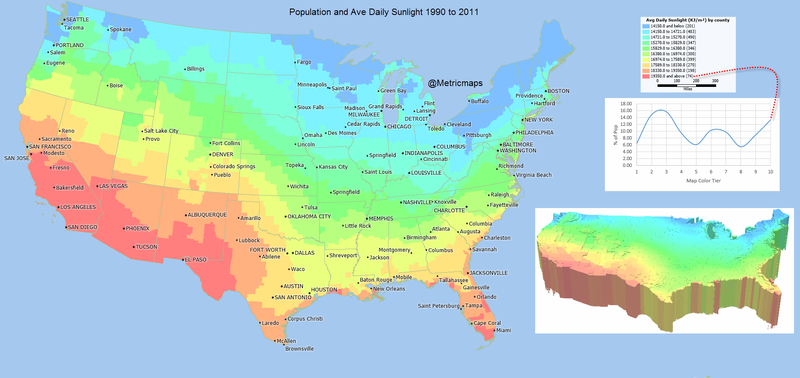 Illustration for article titled A Map Of Where In The U.S. You Get The Most Sunlight