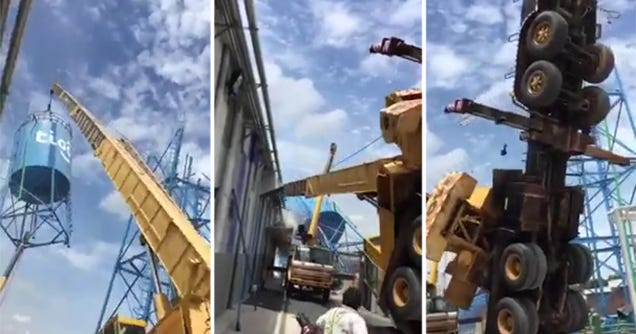 Watch a Crane Totally Collapse After Trying to Move a Water Tank