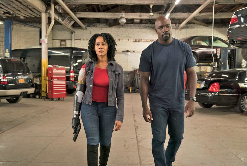 Simone Missick as Misty Knight and Mike Colter as Luke Cage