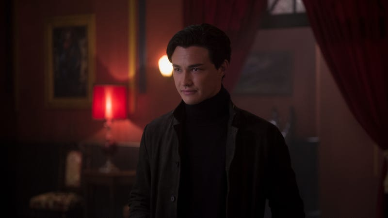 Nicholas (Gavin Leatherwood) leers in the halls of the Academy of Unseen Arts, which features Clive Barker's original artwork.
