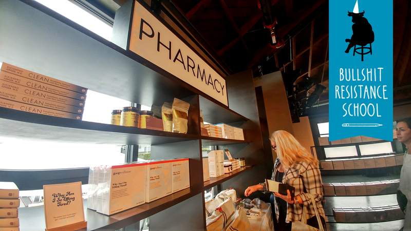 """The """"pharmacy"""" at Goop, which sold zero things that the FDA considers to be medicine."""