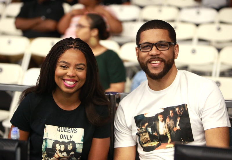 Jemele Hill and Michael Smith at the Slam Dunk Contest during the 2017 BET Experience at Los Angeles Convention Center on June 24, 2017 (Leon Bennett/Getty Images for BET)