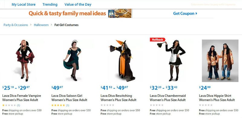 b9eca57212560 Retail giant Walmart is reaching out to the plus size market in an  ill-advised way this Halloween  by offering online shoppers a section of
