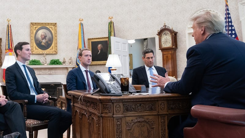 Oval Office meeting on September 19, 2019 with (from left) Professional son-in-law Jared Kushner, Facebook CEO Mark Zuckerberg, Facebook's Joel Kaplan, and President Donald Trump