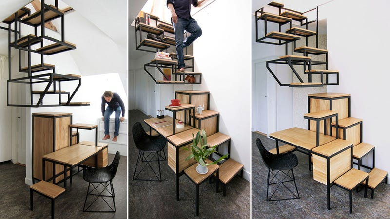 Staircase Shelving this treacherous hanging staircase doubles as shelving and a desk