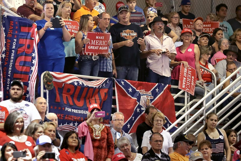 Supporters of then-Republican presidential nominee Donald Trump listen to him during a campaign rally at the Jacksonville Equestrian Center on Nov. 3, 2016, in Jacksonville, Fla. (Chip Somodevilla/Getty Images)