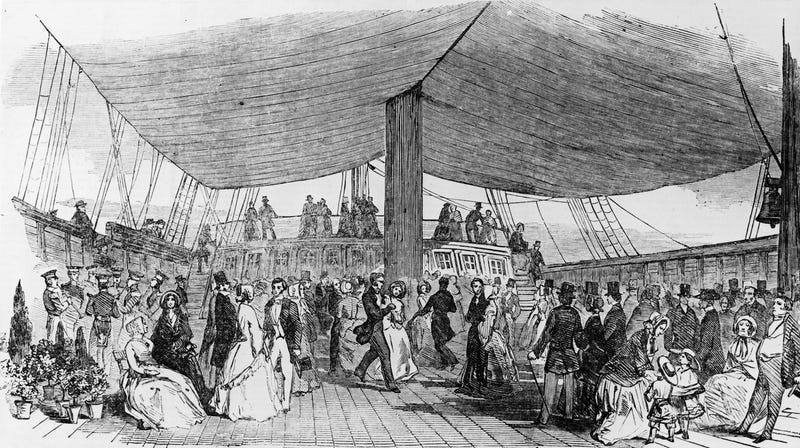 Illustration showing passengers on the deck of the Randolph, one of the first four ships to settle Christchurch in Canterbury, New Zealand in 1850 (Hulton Archive/Getty Images)