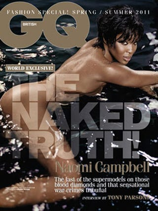 Illustration for article titled British GQ Features Naomi Campbell Nude, Floating In A Pool