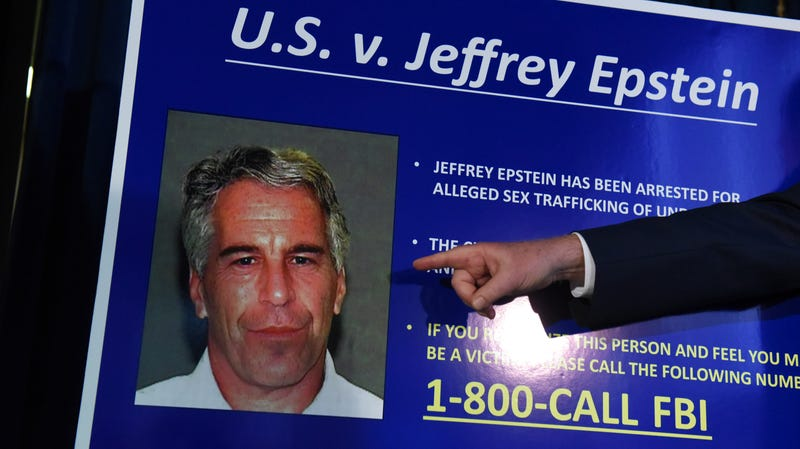 US attorney for the Southern District of New York points to a photo of Jeffrey Epstein at a July 8, 2019 press conference.