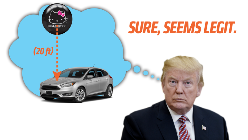 Illustration for article titled What The Hell Is Trump Talking About With Japan Dropping Bowling Balls On Cars?