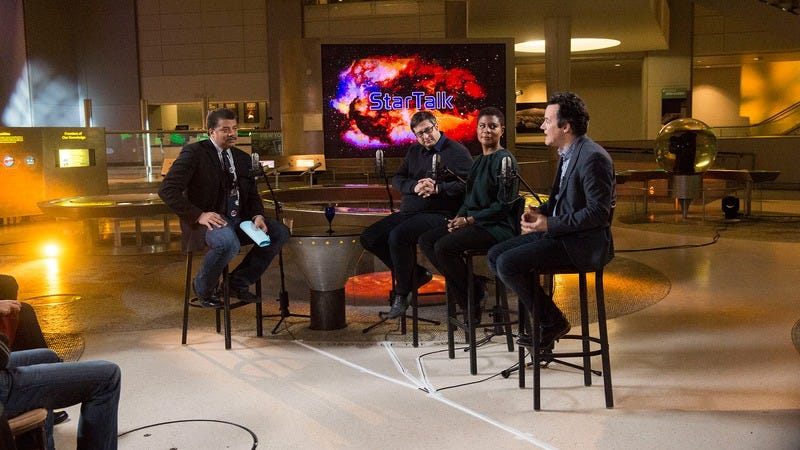 Neil DeGrasse Tyson, Eugene Mirman, Alondra Nelson, and Clive Thompson on the set of StarTalk (in an episode not provided for review) (Photo: Scott Gries/National Geographic Channels)