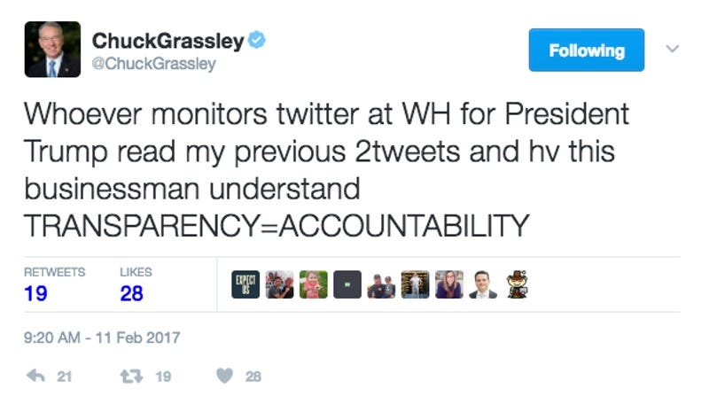 Screenshot from Republican US Senator Chuck Grassley's Twitter, imploring whoever monitors Twitter for the President of the United States to pay attention to him (Twitter)